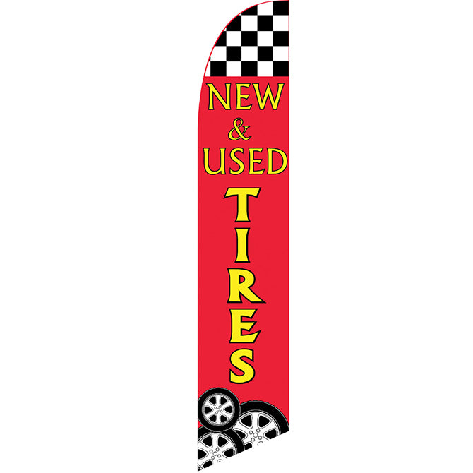 Swooper Banner - CHECKERED FLAG - NEW & USED TIRES - Qty. 1 - Independent Dealer Services