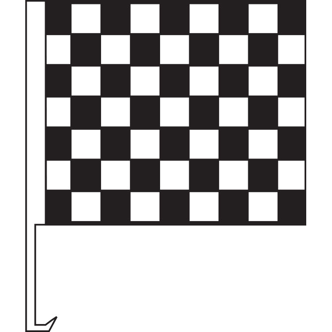 Standard Clip-On Flag - Black/White Checkered - Qty. 1 - Independent Dealer Services