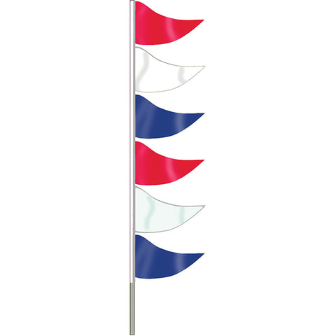 Ground Pennants- R/W/B w/poles - Plasticloth - Qty. 6 - Independent Dealer Services