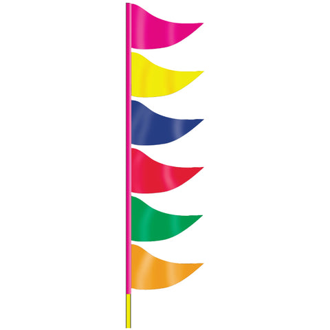 Ground Pennants- Multi Color w/poles - Plasticloth - Qty. 6 - Independent Dealer Services