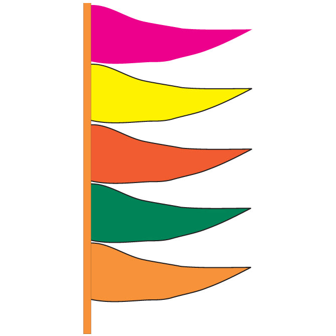 Antenna Flag - Plasticloth - Fluor. Multi Color -  Qty. 12 - Independent Dealer Services