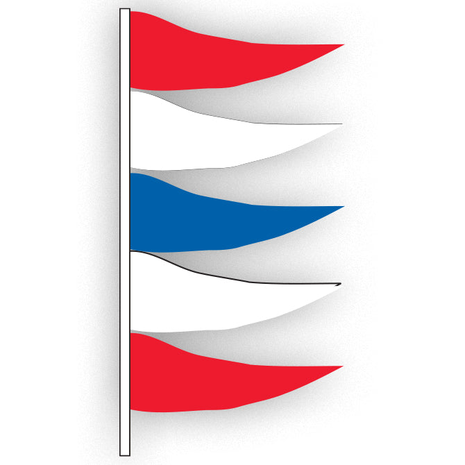 Antenna Flag - Plasticloth - Red, White & Blue -  Qty. 12 - Independent Dealer Services