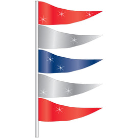 Antenna Flag - Metallic Triangular Flags- Red, Silver & Blue -  Qty. 12 - Independent Dealer Services