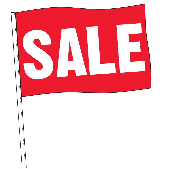 Antenna Flag - Supreme Cloth - Red & White Sale -  Qty. 12 - Independent Dealer Services