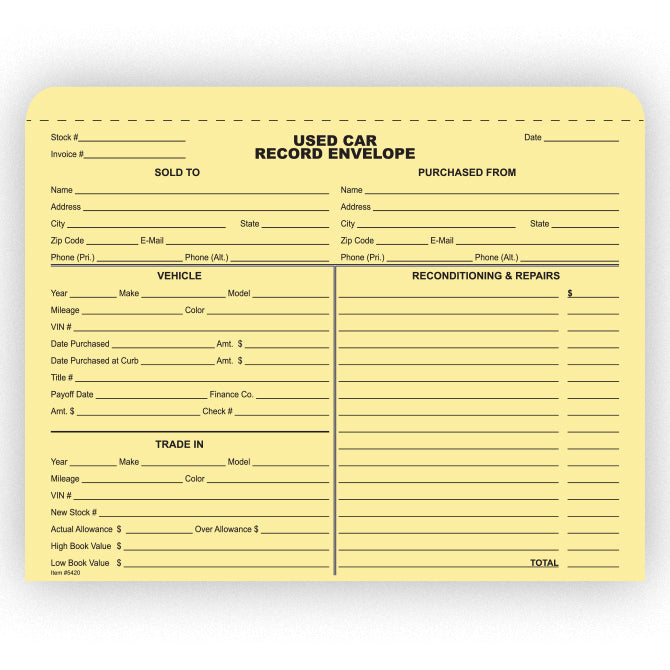 Used Car Record Envelope - Qty. 500 - Independent Dealer Services