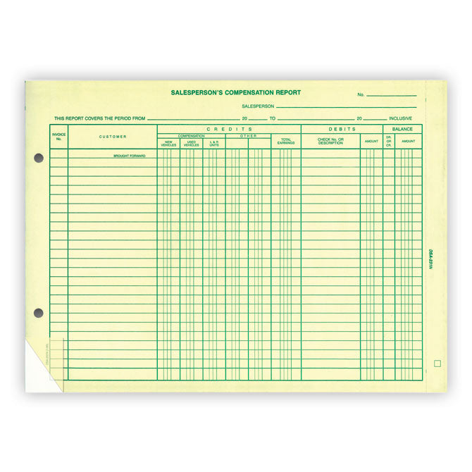 Salesperson's Compensation Report - DSA-231N - Pack of 50 - Independent Dealer Services