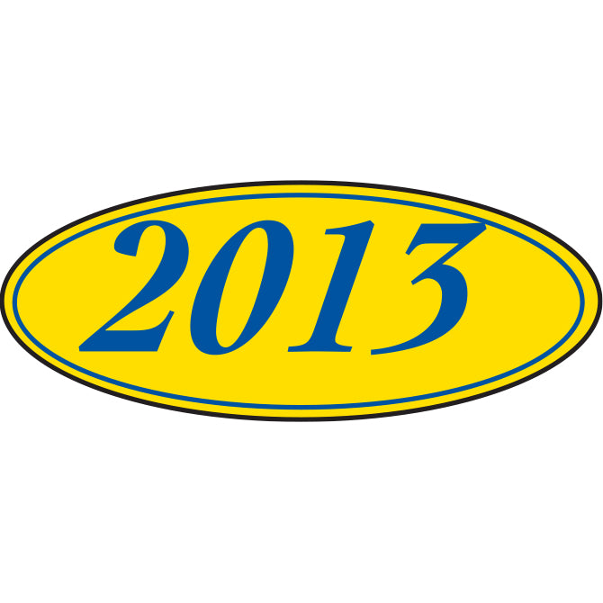 Oval Year Window Sticker - BLUE on YELLOW - Qty. 12 - Independent Dealer Services