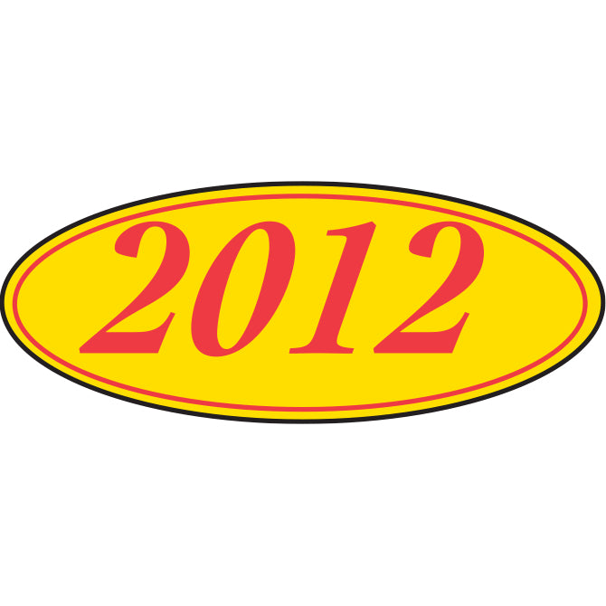 Oval Year Window Sticker - RED on YELLOW - Qty. 12 - Independent Dealer Services