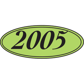 Oval Year Window Sticker - BLACK on GREEN - 2005 - Qty. 12
