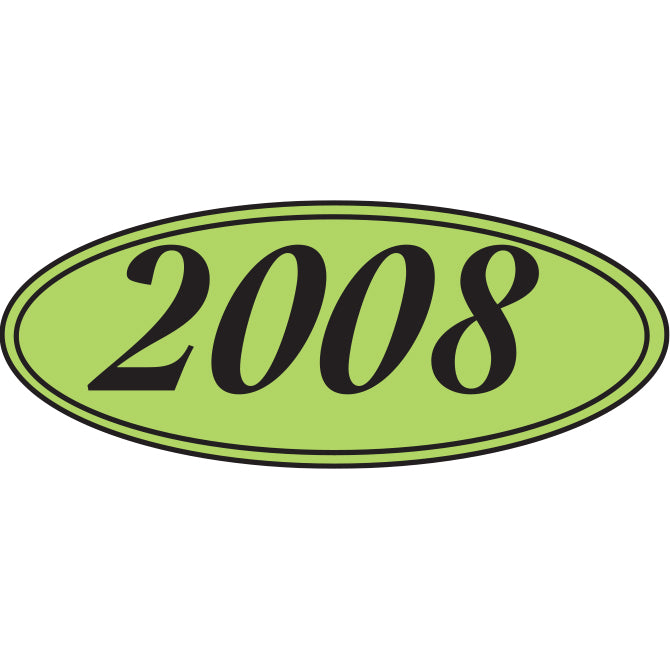 Oval Year Window Sticker - BLACK on GREEN - Qty. 12 - Independent Dealer Services