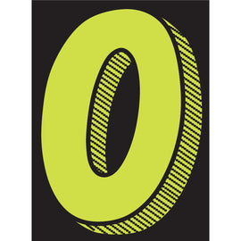 "Window Sticker - 7 1/2"" Fluor. Green/Black #0 - Qty. 12"