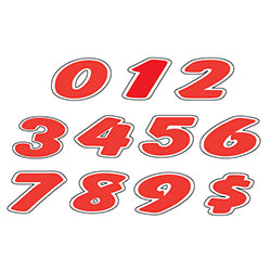 Window Sticker - Red & White Die Cut Numbers - Qty. 12