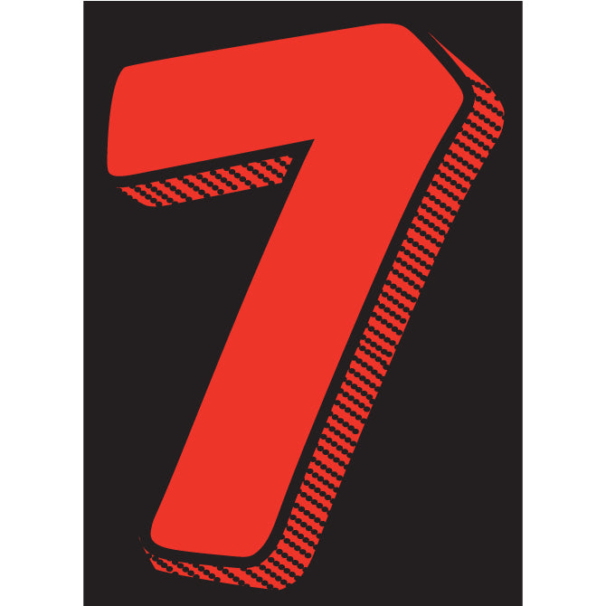 "Window Sticker - 7 1/2"" Red/Black #7 - Qty. 12"