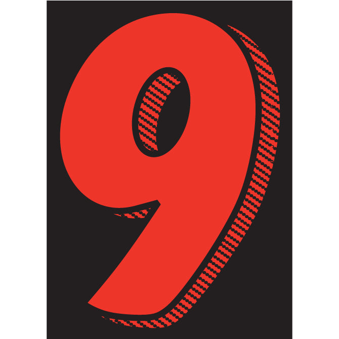 "Window Sticker - 7 1/2"" Red/Black #9 - Qty. 12"