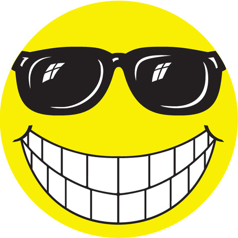 "Window Sticker - Happy Face with Sun Glasses - 6"" Diameter - Qty. 12 - Independent Dealer Services"