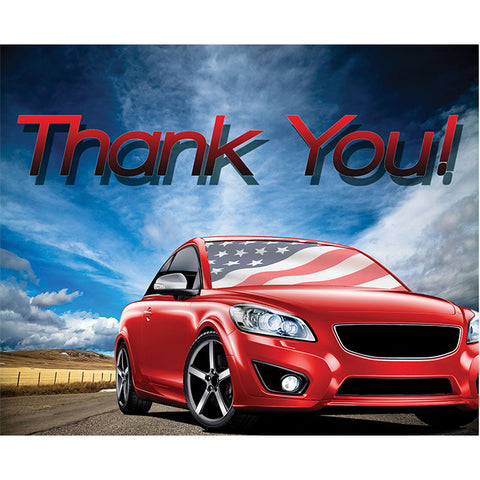Thank You Card - Patriotic Car - Qty. 50 - Independent Dealer Services