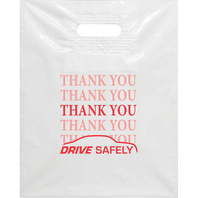 White Plastic Patch Handle Bags - Red Imprint - Qty. 100 - Independent Dealer Services