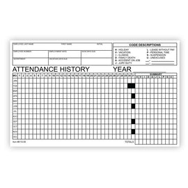 Employee Attendance Tracker Form - Qty of 50 - Independent Dealer Services