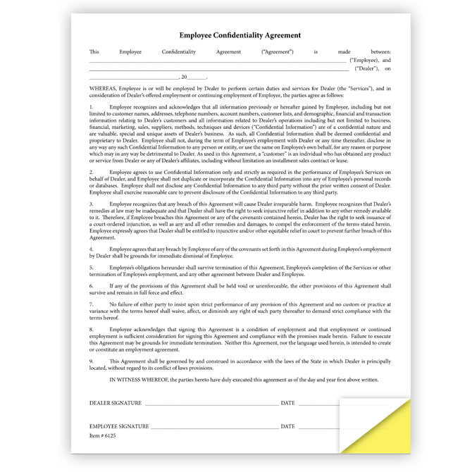 Employee Confidentiality Agreement Form - Qty of 100 - Independent Dealer Services