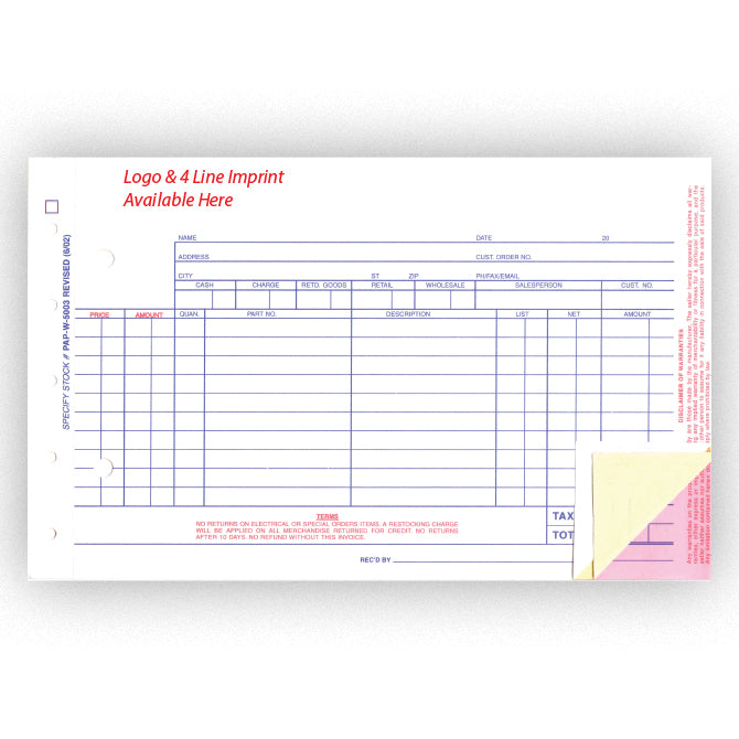 Parts Invoice - Imprinted - Qty. 500 - Independent Dealer Services