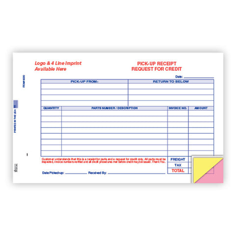 Parts Pick Up Receipt - Imprinted - Qty. 500 - Independent Dealer Services
