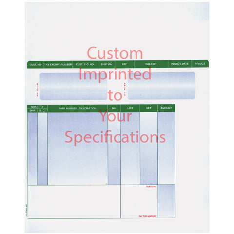 Laser Part Invoices - LZR-PT-INV - Imprinted - Qty. 500 - Independent Dealer Services