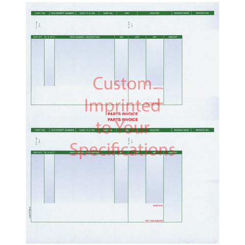 "Laser Part Invoice - LZR-PT-INV-2 - Perfed at 5 1/2"" - Imprinted - Qty. 500 - Independent Dealer Services"