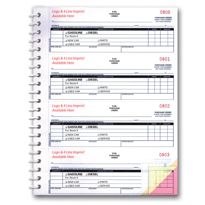 Fuel Purchase Order Book - NC-124-3-Fuel - 3 Part - Imprinted, 200 per Book - Independent Dealer Services