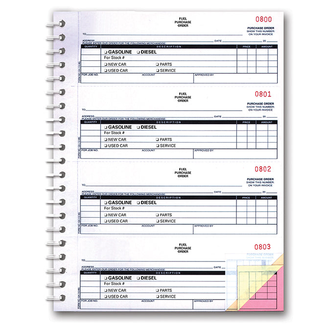 Fuel Purchase Order Book - NC-124-3-Fuel - 3 Part, 200 per Book - Qty. 1 - Independent Dealer Services