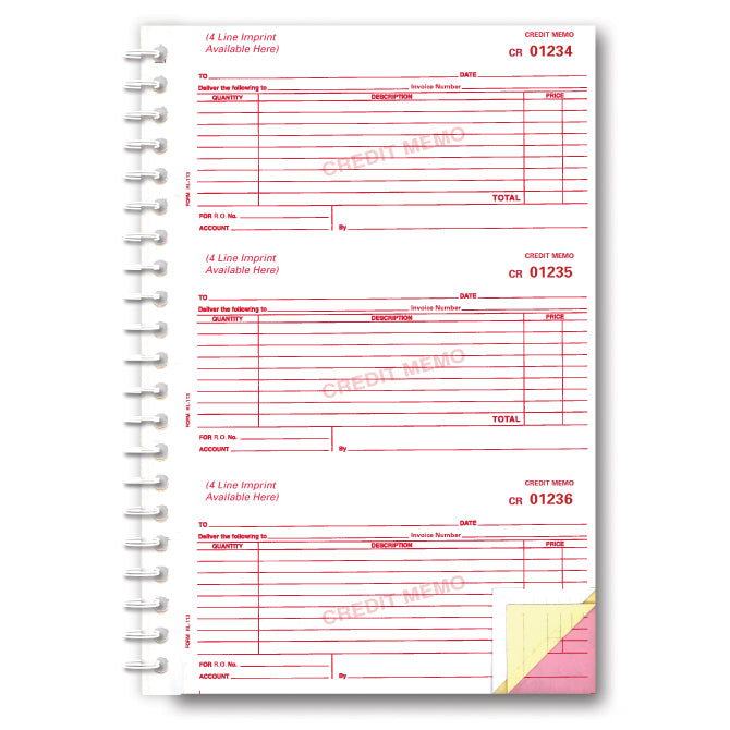 Credit Memo Book - RL 113 - 3 Part - Imprinted, 150 per Book. - Independent Dealer Services