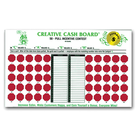 Incentive Cash Board - Creative Cash - White Board - Qty. 1 - Independent Dealer Services