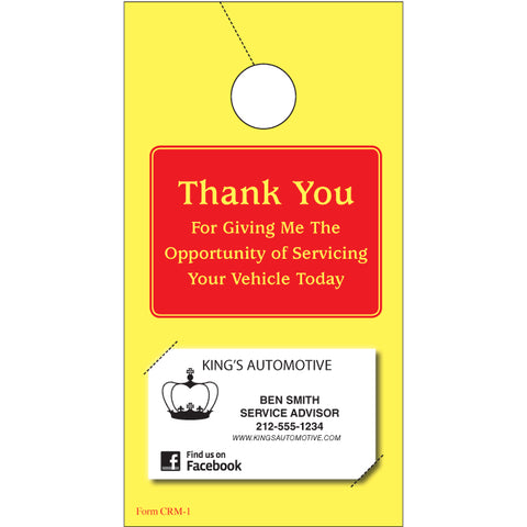 Thank You Hang Tags - CRM-1 - Qty. 250 - Independent Dealer Services