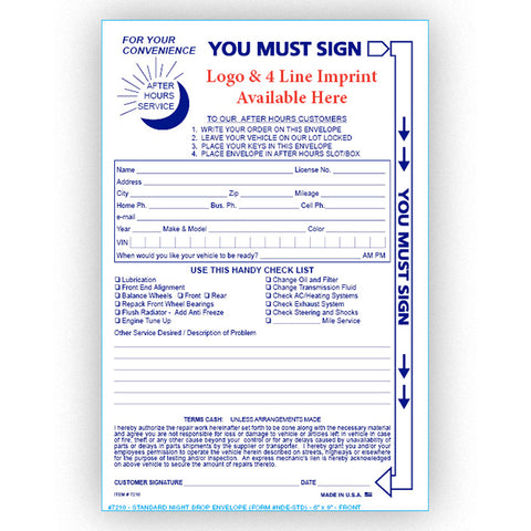 Standard Night Drop Envelope - NDE-STD - IMPRINTED - Qty. 500 - Independent Dealer Services