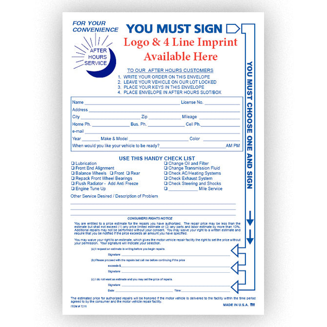 Multi-Choice Night Drop Envelope - NDE-MULTI - IMPRINTED - Qty. 500 - Independent Dealer Services