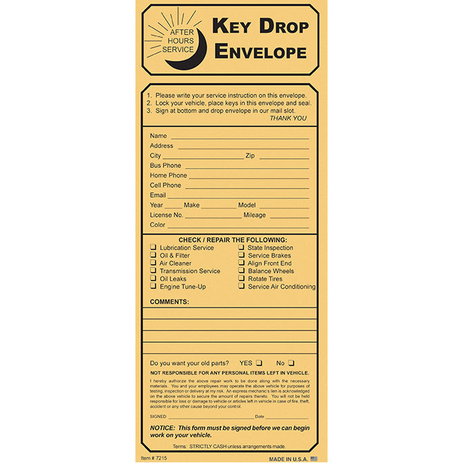 Night Drop Envelope, Key Drop Kraft With Checklist - Qty. 100 - Independent Dealer Services