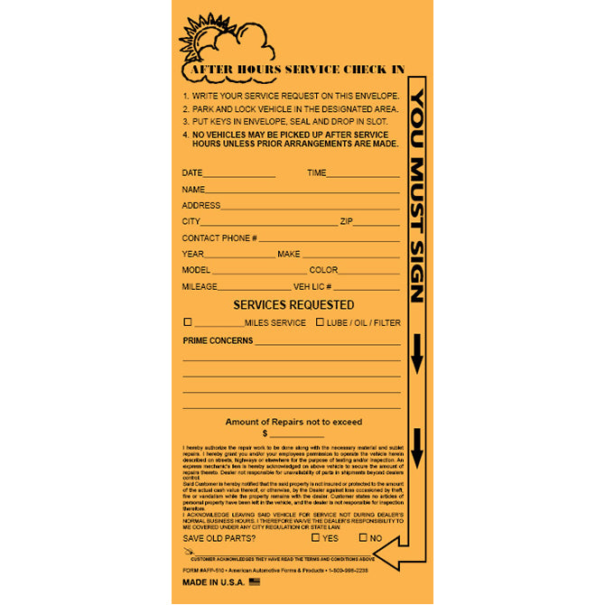 Night Drop Envelope, Personalized - Small - Kraft - Qty. 500 - Independent Dealer Services