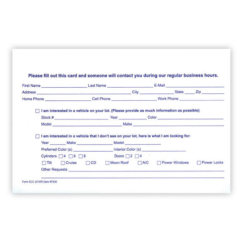 "Customer Lead Cards - CLC -  5.5"" x 8.5"" - Qty. 100 - Independent Dealer Services"