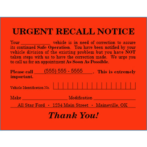 "Urgent Recall Notice - RT-6 - 5.5"" x 4.25"" - Imprinted -  Qty. 500 - Independent Dealer Services"