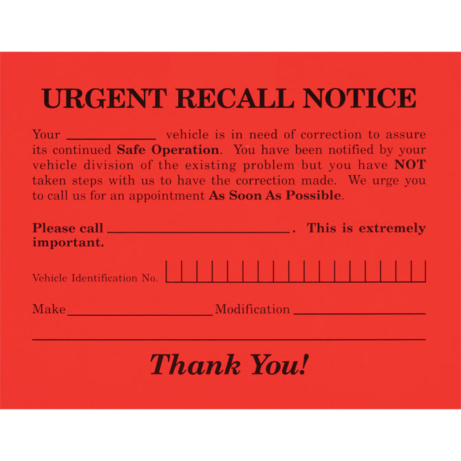 "Urgent Recall Notice - RT-6 - 5.5"" x 4.25"" - Qty. 250 - Independent Dealer Services"