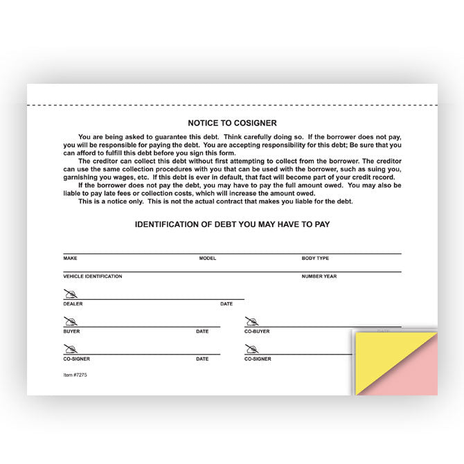 Notice to Co-Signer - 3 Part Snap-Out - Qty. 100 - Independent Dealer Services