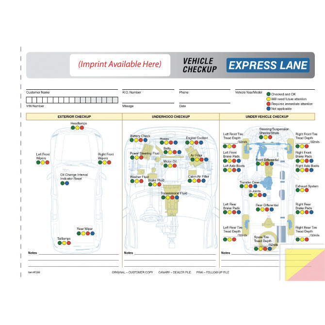 Express Lane Inspection Report - 3 Part - Imprinted - Qty. 500 - Independent Dealer Services