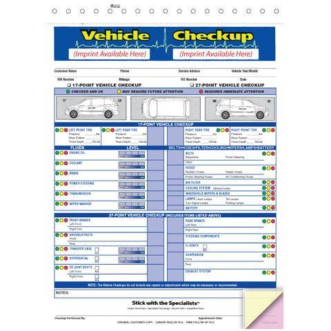 Vehicle Checkup/Inspection Report - 3 Part - Imprinted - Qty. 500 - Independent Dealer Services