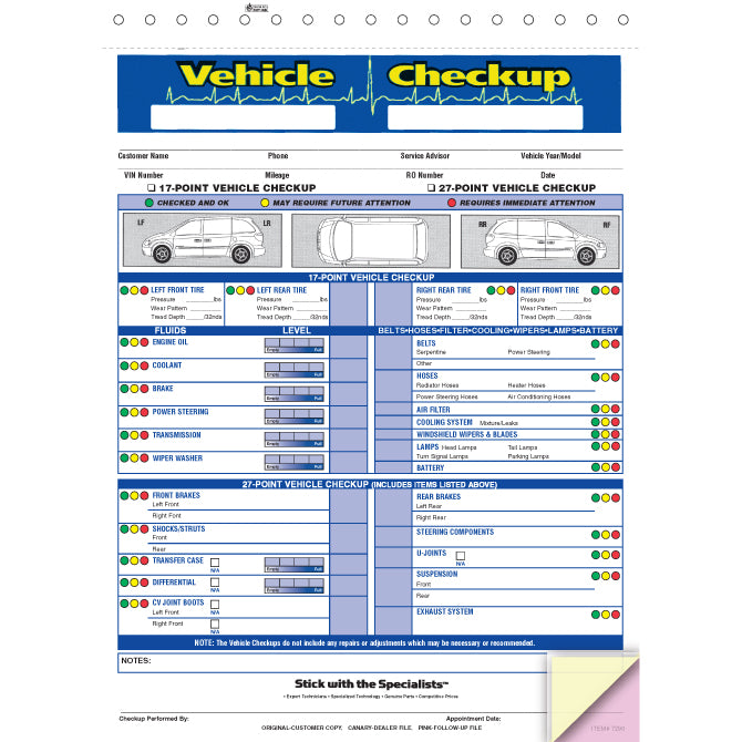 Vehicle Checkup/Inspection Report - 3 Part - Qty. 250 - Independent Dealer Services