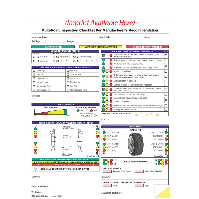 Multi-Point Vehicle Inspection Report - 2 Part - Imprinted - Qty. 500 - Independent Dealer Services