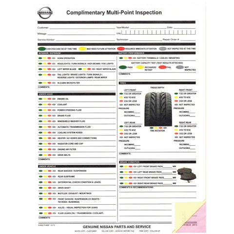 Nissan Multi-Point Vehicle Checkup - 3 Part - Qty. 250 - Independent Dealer Services