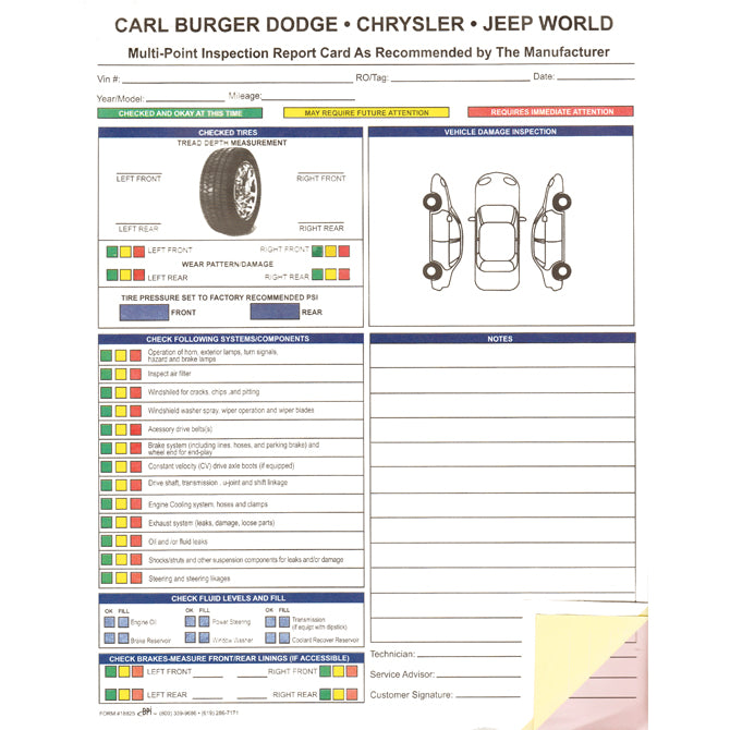 "Custom Multi-Point Vehicle Checkup - 3 Part - 8.5"" x 11"" -  Qty.   500 - Independent Dealer Services"