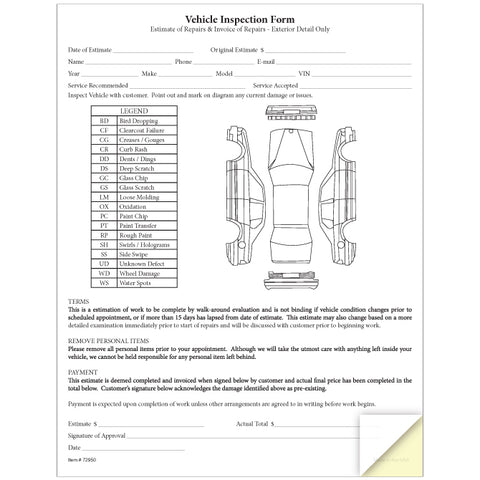 Vehicle Inspection & Estimate Form - 2 Part - Qty. 100 - Independent Dealer Services