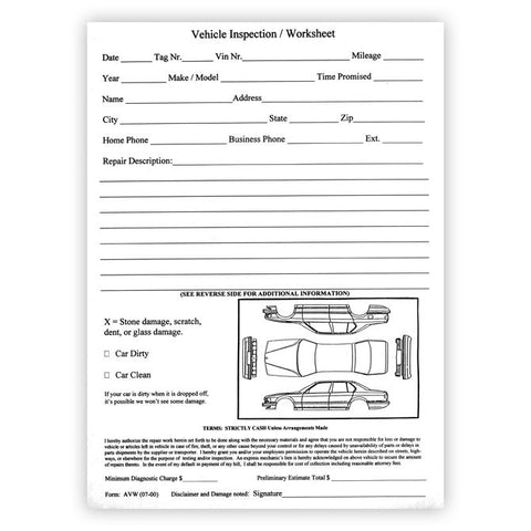 "Vehicle Inspection Worksheet - AVW - 8 1/2"" x 11"" Padded - Qty. 100 - Independent Dealer Services"