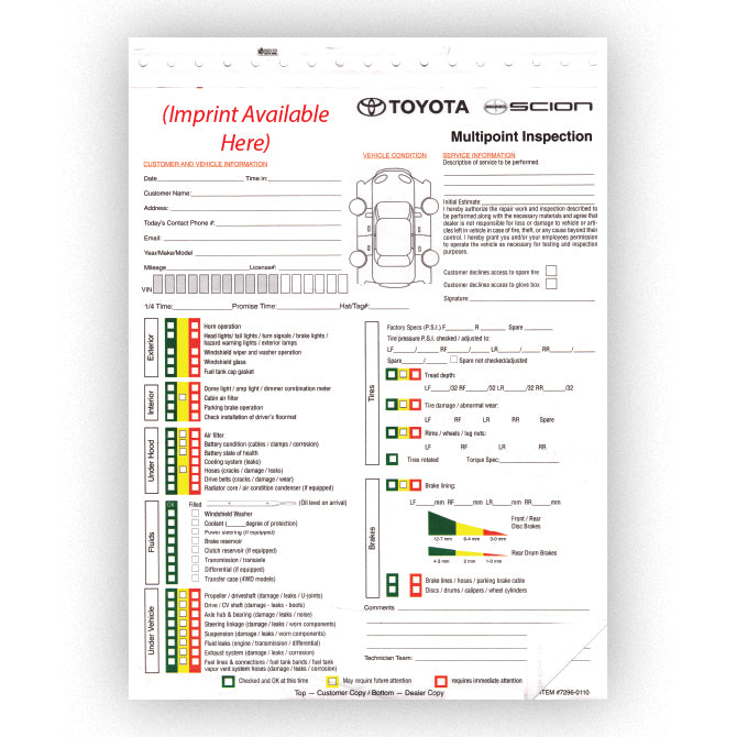 Toyota Multi-Point Vehicle Checkup - 3 Part - Imprinted - Qty. 500 - Independent Dealer Services