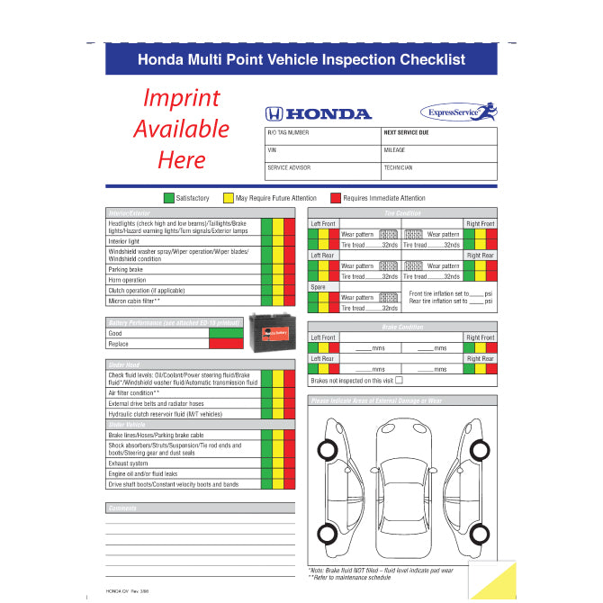 Honda Multi-Point Vehicle Checkup - 2 Part - Imprinted - Qty. 500 - Independent Dealer Services